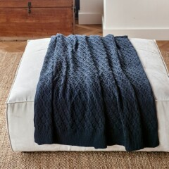 RM Knitted Cable Throw 180x130 blue 481980 2