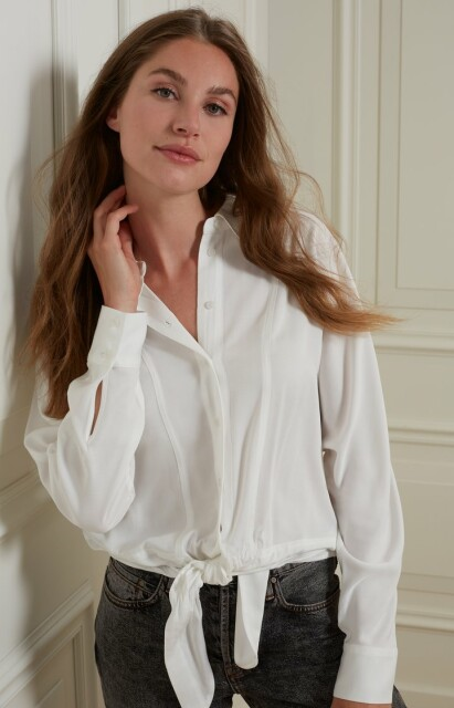 Boxy botton blouse with tie deatail 1101253-123
