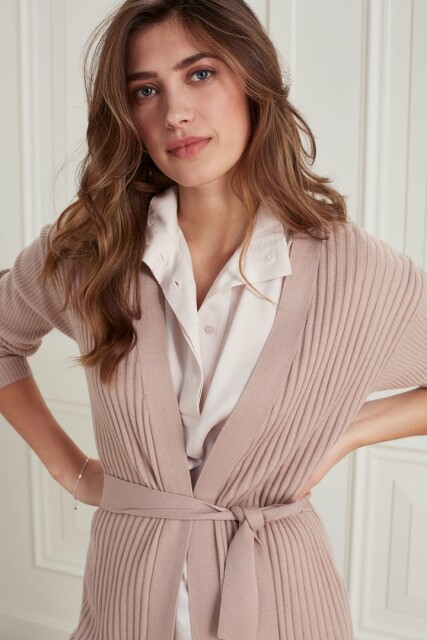 Cardigan with different rib stitch at sleeve and body 1010126-121